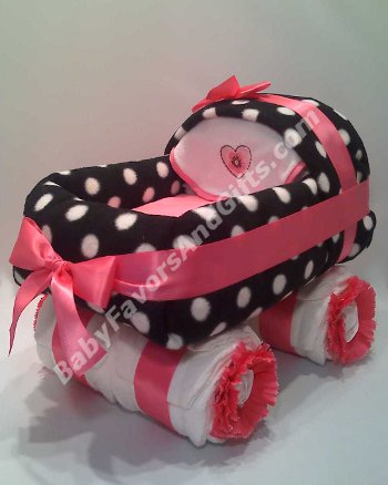 Hot Pink and Black Carriage Diaper Cake