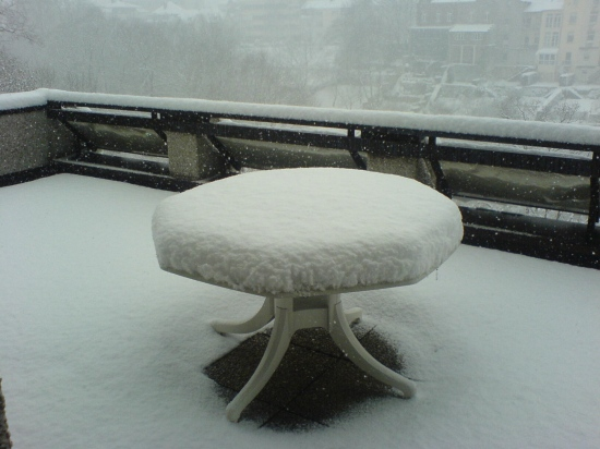 23cm snow on my terrace table.