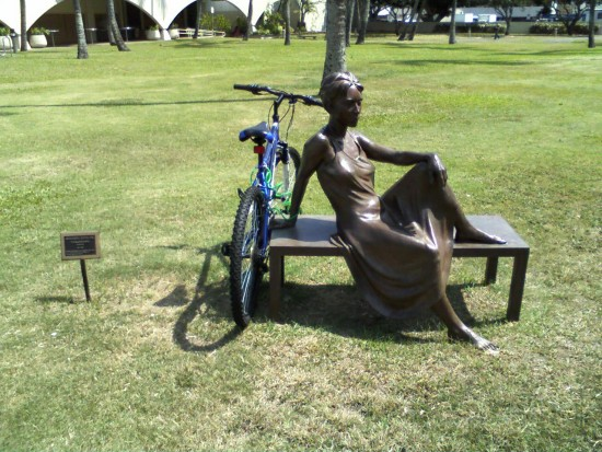bike sculpture bronze