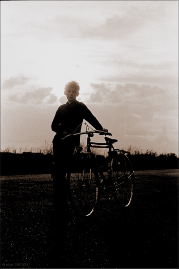 boy bw backlight bicycle scan film