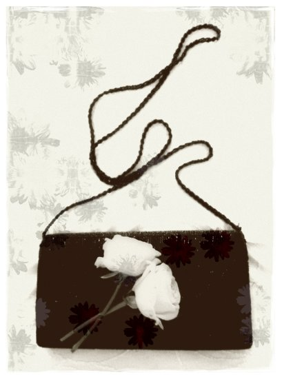 bag flowers bw