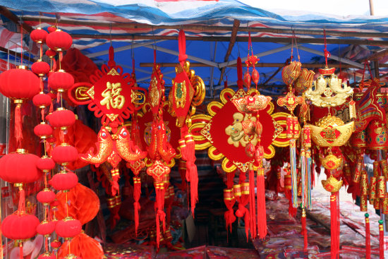 Chinese New Year decorations in a market - Liuzhou, Guangxi, China - Jan 27th, 2013
