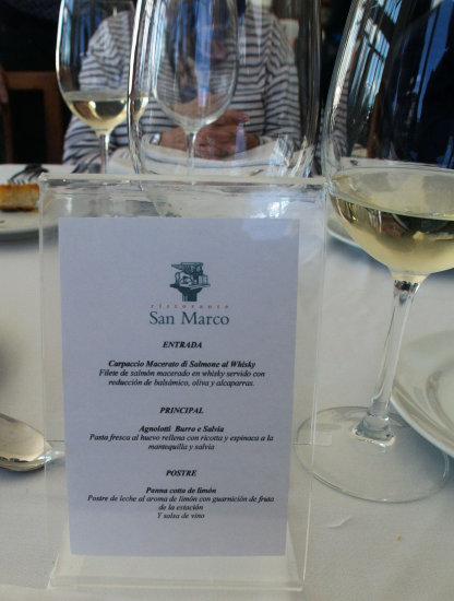 SANTIAGO  ---    WINEYARDS TOUR  -----   THE MENU