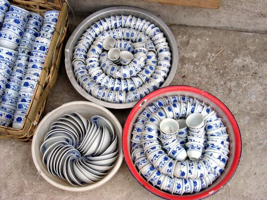 Cup and saucers for sale in Chinatown.