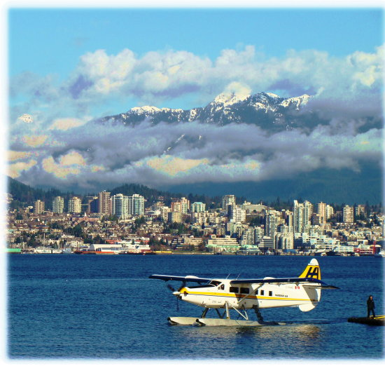 coal harbour north vancouver city skyline grouse mountain