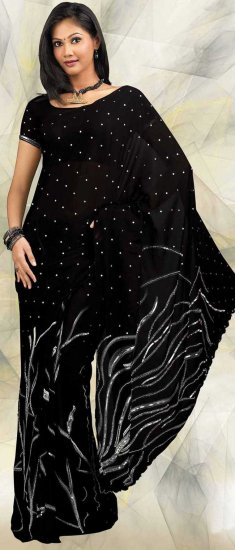 Blouse With Saree Black Georgette