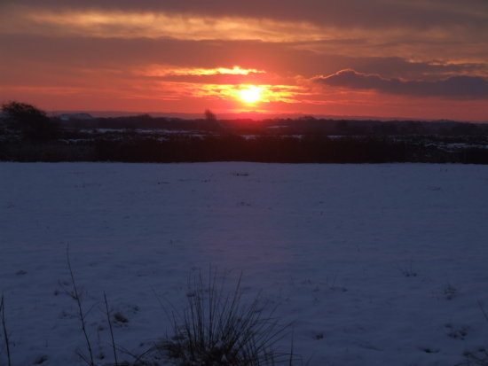 Braunton Saunton Devon Snow Sunset December