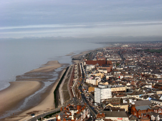 View north from the top of Blackpool Tower