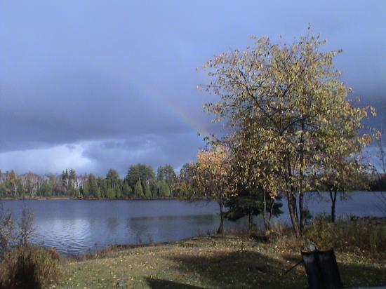 View from the back of the cottage, including a little smidgen of rainbow.