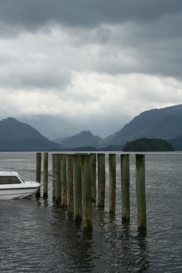 Keswick Lake district England Landscape Derwent Water Peir Boat