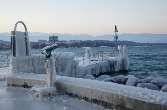 coldness icy beach lake leman geneva