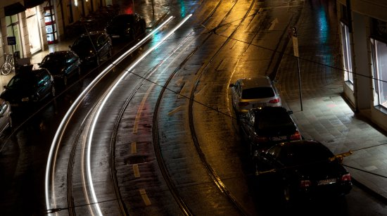 Munich rain cars lights