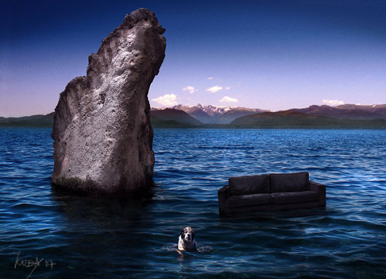 rocks blue stone lake water dog landscape sofa agua lago roca piedra paisaje