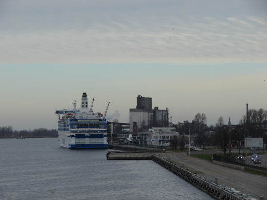 landscape riga seaport coast ship sea nature water tree boat river daugava
