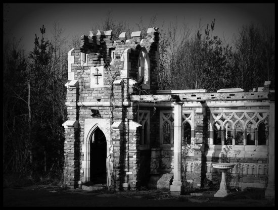 Ruins derelict black and white