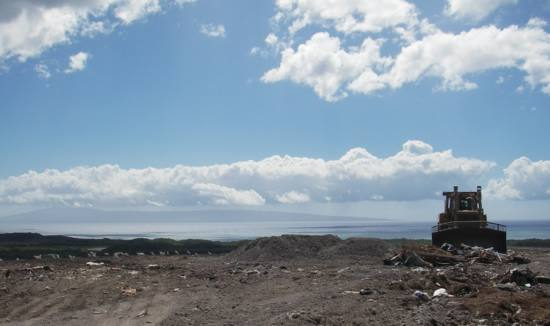 View of the island of Lanai (horizon) from the landfill on Molokai.