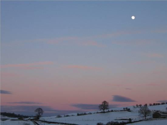 Christmas winter fields moon snow sunset sky England