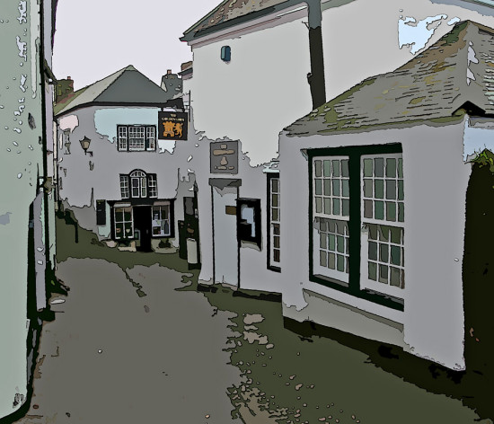 0053 Cornwall PortIsaac UK Lane Road Manipulated