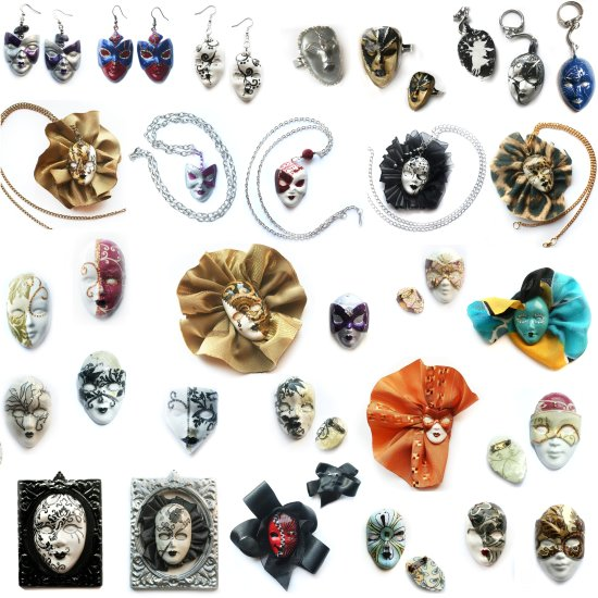 mask collage collection jewellery art colorful venice hand made keitology