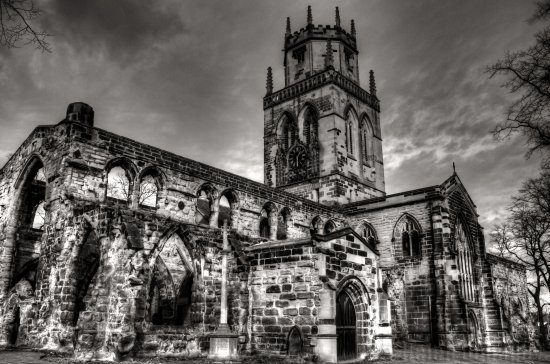 church pontefract yorkshire bw