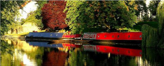 Boathouses boat landscape UK Cambridge