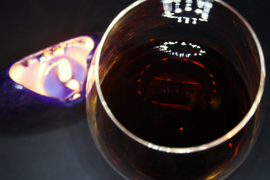 reflections of a glass of wine