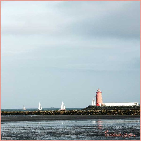 lighthouse poolbeg dublin pink sea boat