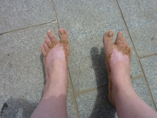 My feet after a walk on the beach in Barcelona ... July 2009 <br /> <br />(a bit early already, but I'll be offline for the next two days)