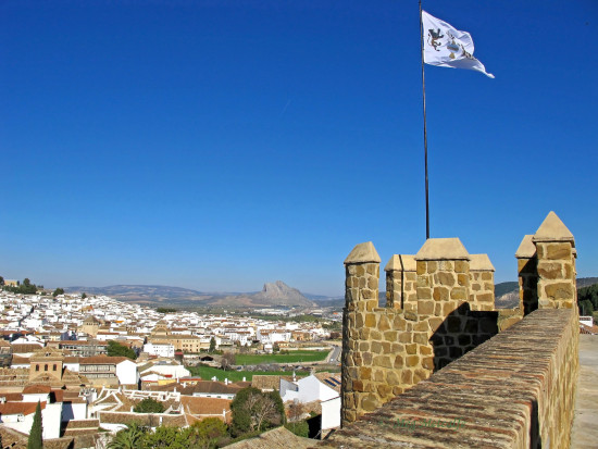 Antequera Antigua Ciudad flag walls Andalucia Spain