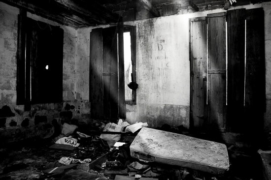 ftcomplong black and white room abandoned light bed old