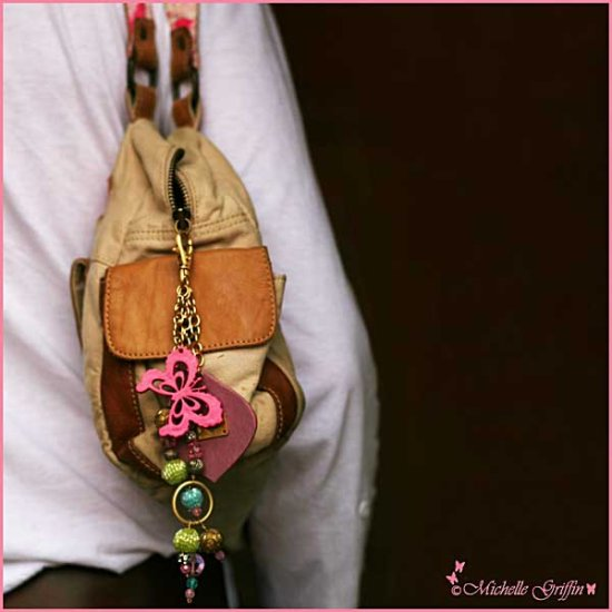 bag pink butterfly charm