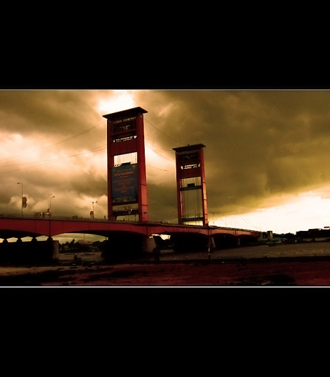 Ampera Bridge in Palembang, South Sumatra, Indonesia. Seconds before storm.