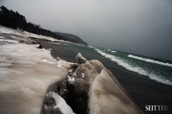 Leland MI winter Ice beach