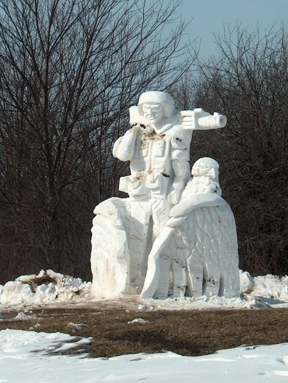 A snow soldier on the Army post that I live on...if you look the soldier is being wrapped by the ...