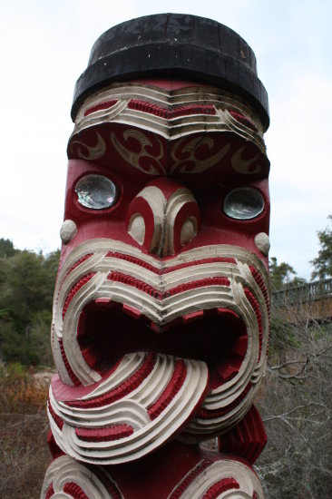 A Maori Carving at Rotorua, New Zealand