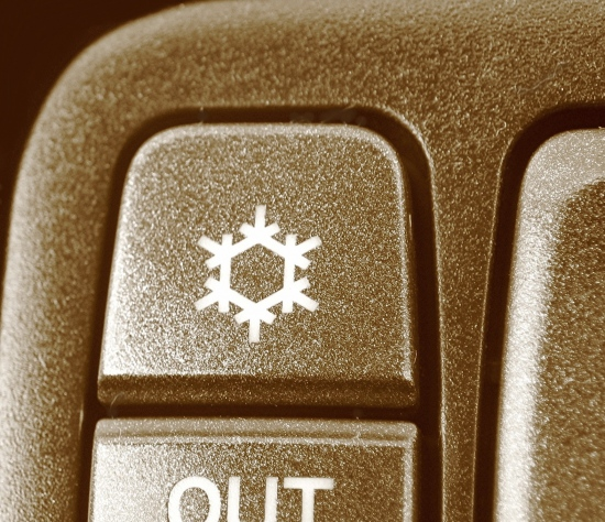 aircon cold ice freezing temperature car dashboard bw sepia plastic snowflake