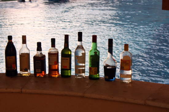 bottles whisky wine vodka swimming pool