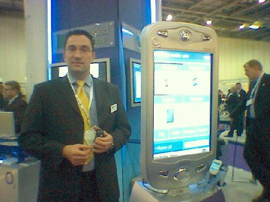 """Work Colleague shows off the enormous size of his...  er... """"device""""!"""