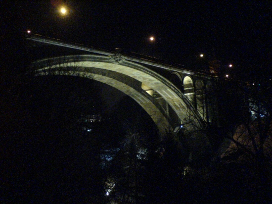 The new bridge by night in Luxembourg City