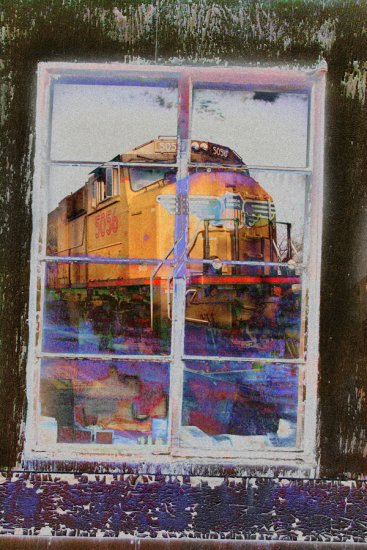 train old train architecture old window reflections photoshop abstract