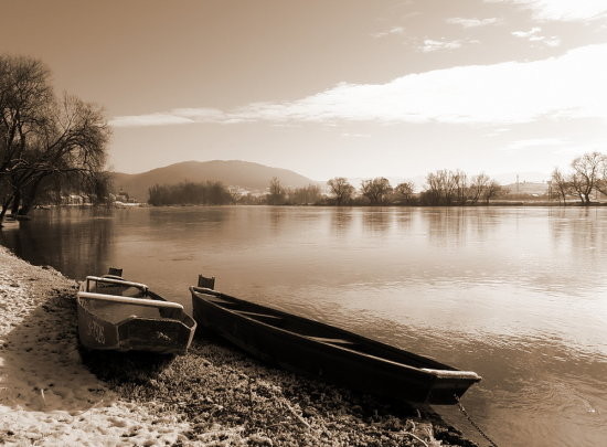 boat winter river duo sephia landscape croatia