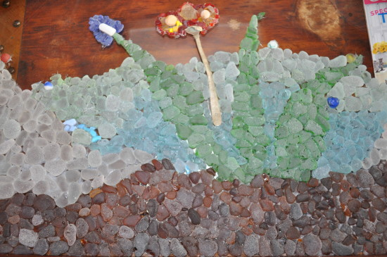 beach glass mosaic in progress
