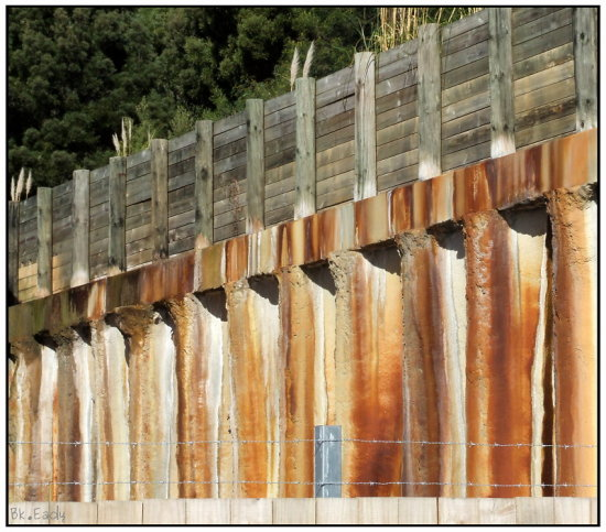 rust rustic wall fence concrete cement wooden