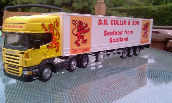 1/50 Scale Cararama Scania liveried in the colours of  D.R. Collin & Sons of Eyemouth, Scotland