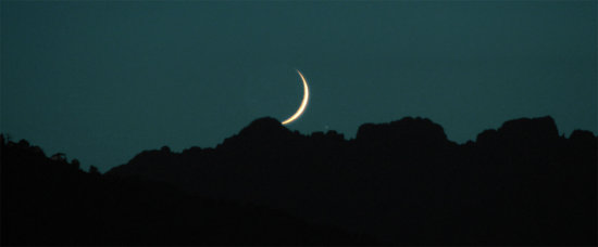 lunar crescent moon mountains zoom contrast beauty night scenery corsica