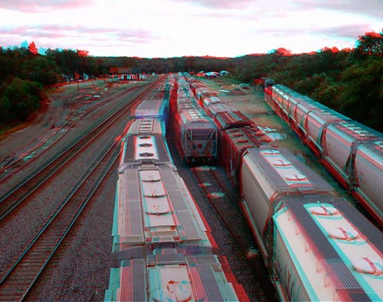 Anaglyph 3D Stereoscope Trains Locomotive Railroad Overpass Tracks