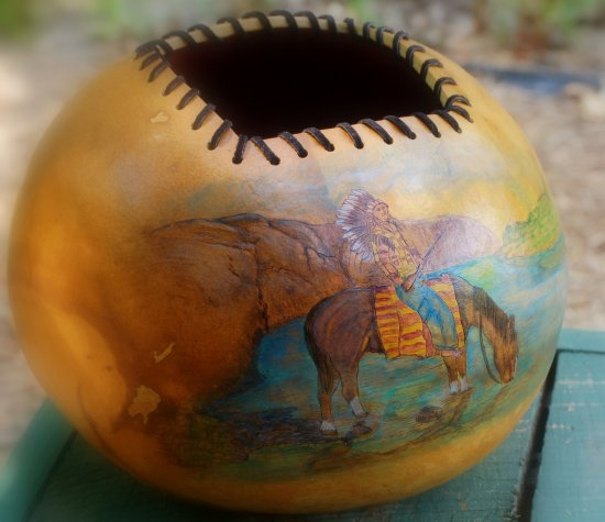 nativeamerican gourd stoneakin indian horse