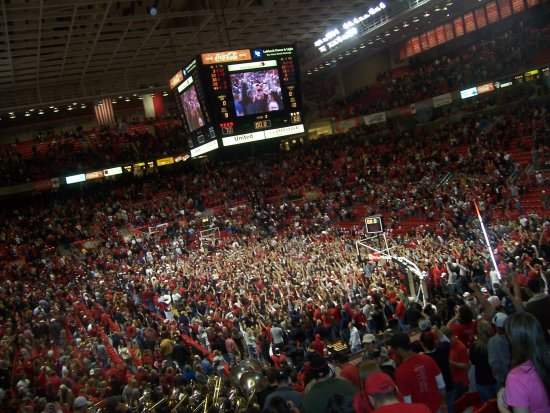 This was the basketball court 30 seconds after the end of the Tech vs A&M game! I took this as I ...