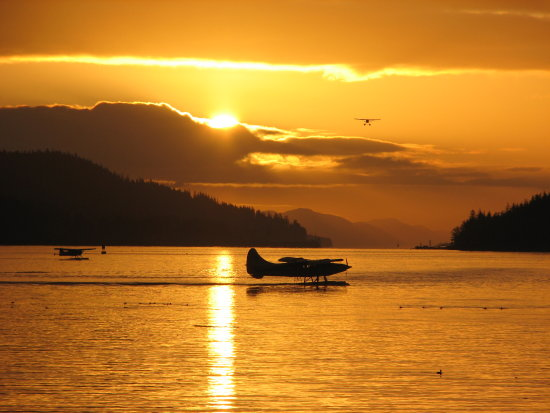 alaska winter floatplane sunrise