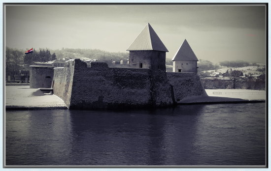 croatia fortress fort old architecture landscape bw history